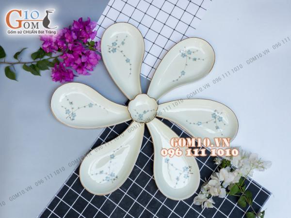 Sét 6 đĩa giọt nước men kem vẽ Đào xanh, xếp cánh hoa 003