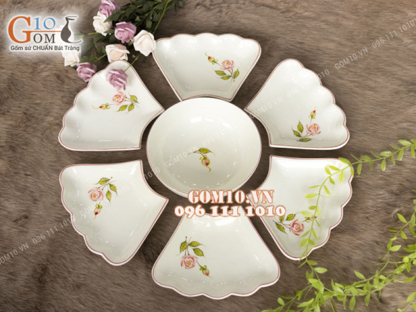 Bộ đĩa hoa 6 cánh, cỡ tô 20cm