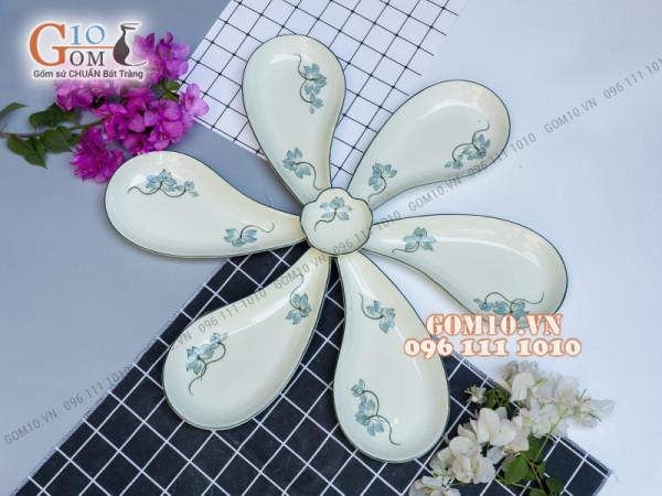 Sét 6 đĩa giọt nước men kem vẽ Sen xanh, xếp cánh hoa 003