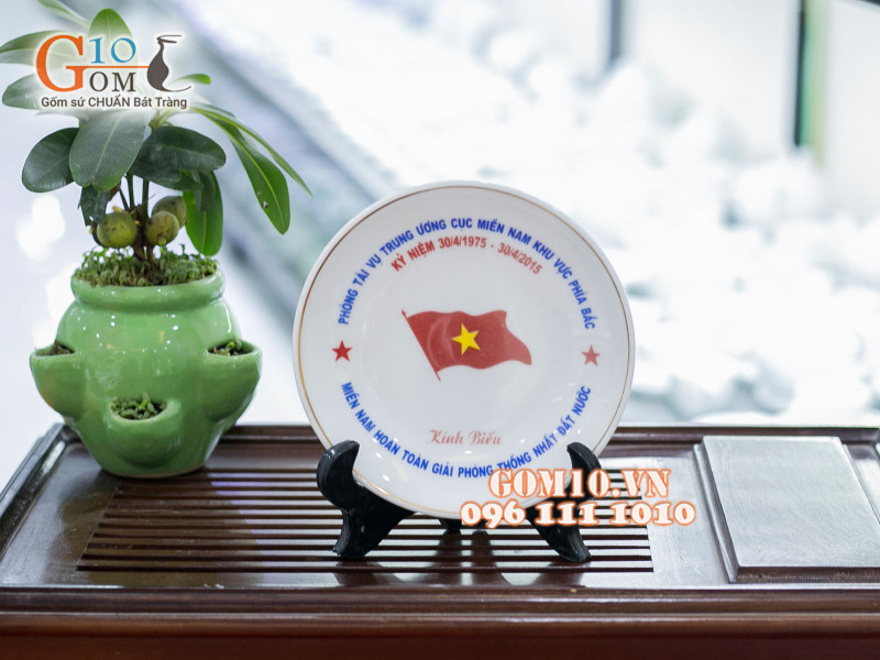 Đĩa trang trí Bát Tràng sản phẩm gốm sứ quà tặng cao cấp 3